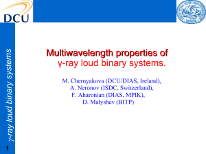Multiwavelength properties of γ-ray loud binary systems.