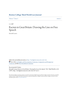 Racism in Great Britain: Drawing the Line on Free Speech