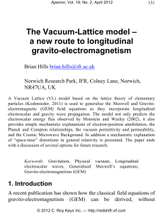 The Vacuum-Lattice model – a new route to longitudinal