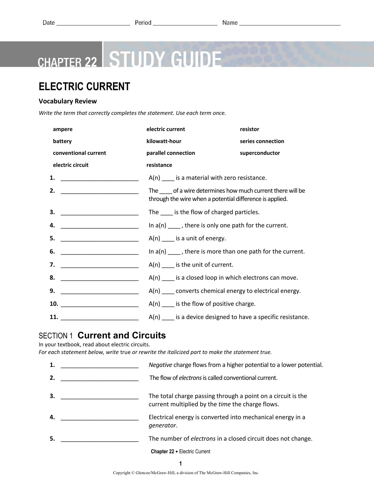 Ch 22 Electric Current