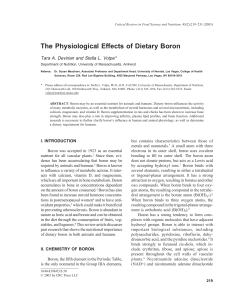 The Physiological Effects of Dietary Boron
