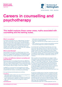 Careers in counselling and psychotherapy