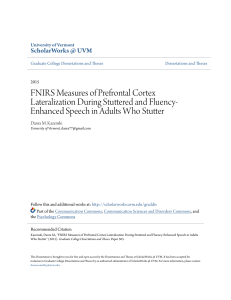 FNIRS Measures of Prefrontal Cortex Lateralization During Stuttered