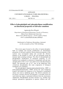Effect of phospholipid and (phospho)lipase - Annales UMCS