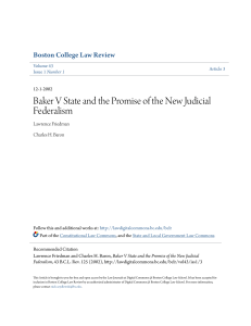 Baker V State and the Promise of the New Judicial Federalism