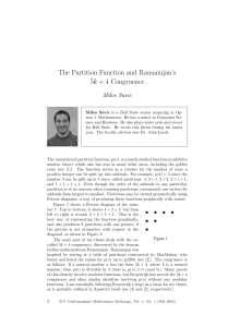 The Partition Function and Ramanujan`s 5k + 4 Congruence