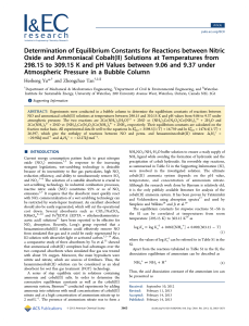 Determination of Equilibrium Constants for Reactions between Nitric