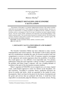 Mateusz Machaj* MARKET SOCIALISM AND ECONOMIC