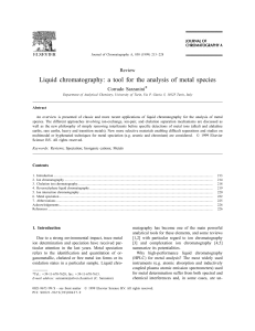 Liquid chromatography: a tool for the analysis of metal species