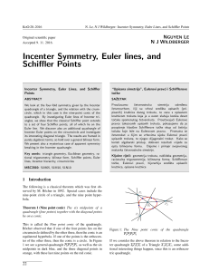 Incenter Symmetry, Euler lines, and Schiffler Points