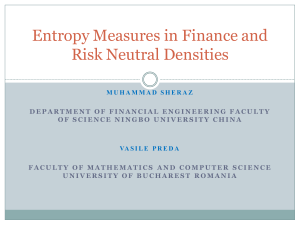 Entropy Measures in Finance and Risk Neutral Densities