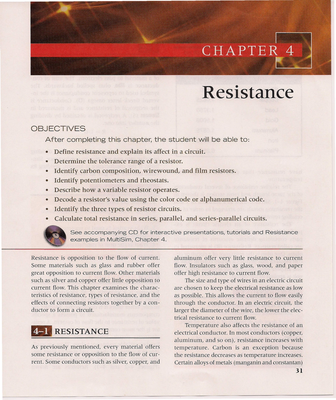 Chapter 4 Resistance Define Parallel Circuit