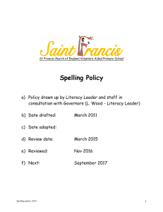 Spelling Policy - St Francis CofE Primary School