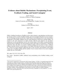 Evidence about Bubble Mechanisms: Precipitating Event