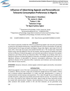Influence of Advertising Appeals and Personality on Telecoms