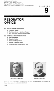 RESONATOR OPTICS