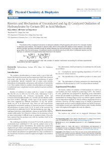 Kinetics and Mechanism of Uncatalyzed and Ag (I) Catalyzed