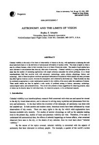 astronomy and the limits of vision
