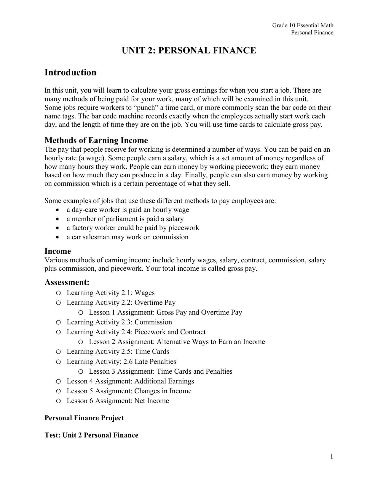 personal finance project examples