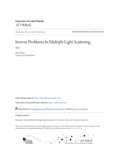 Inverse Problems In Multiple Light Scattering