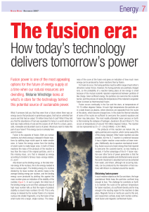How today`s technology delivers tomorrow`s power