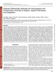 Histones Differentially Modulate the Anticoagulant and