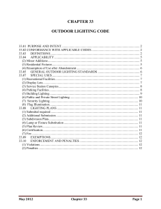 CHAPTER 33 OUTDOOR LIGHTING CODE