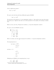 Calculus II, Section 9.5, #10 Linear Equations Solve the differential