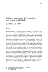 Sediment transport via dam-break flows over sloping