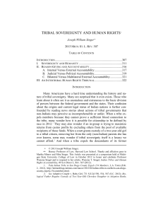 Tribal Sovereignty and Human Rights