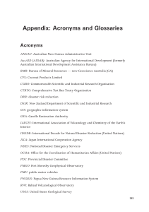 Appendix: Acronyms and Glossaries