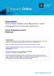 The United States and Myanmar: from antagonists to security partners