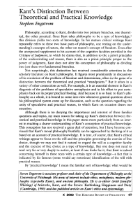 Kant`s Distinction Between Theoretical and Practical Knowledge
