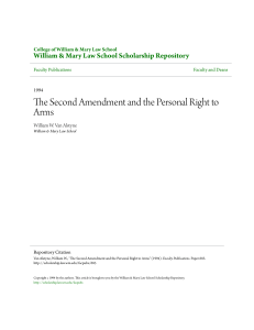The Second Amendment and the Personal Right to Arms