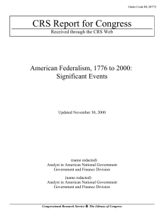 American Federalism, 1776 to 2000: Significant Events