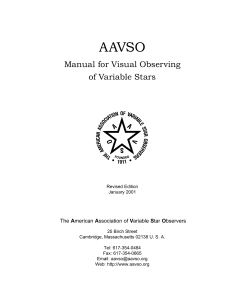 Manual for Visual Observing of Variable Stars