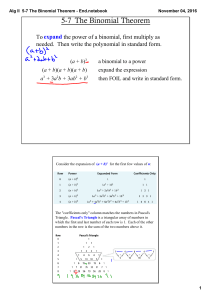 Alg II 5-7 The Binomial Theorem