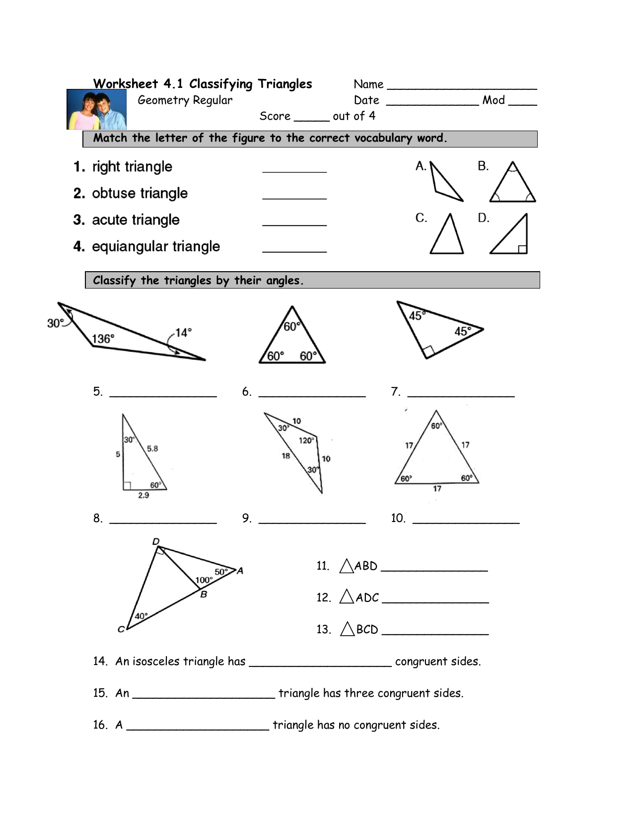 Worksheet 4.1 Classifying Triangles