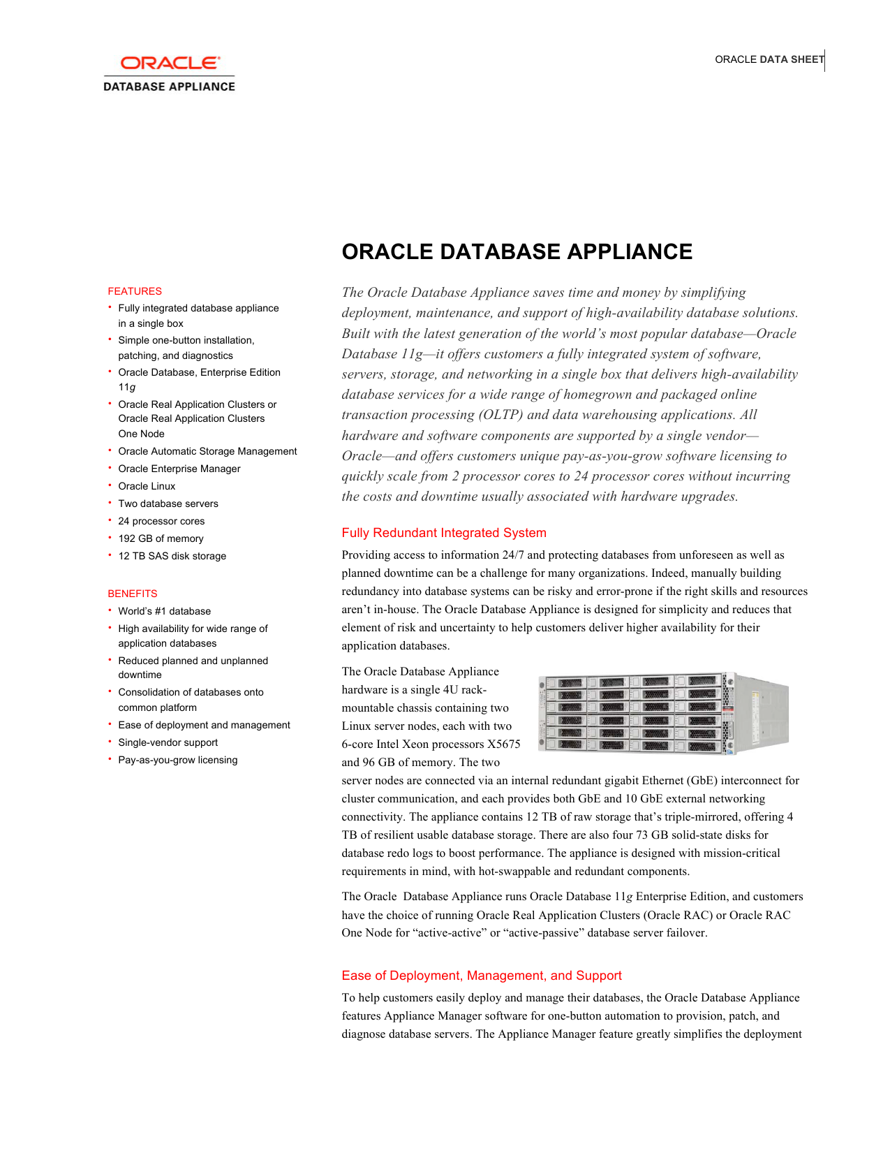 Oracle Database Appliance Data Sheet