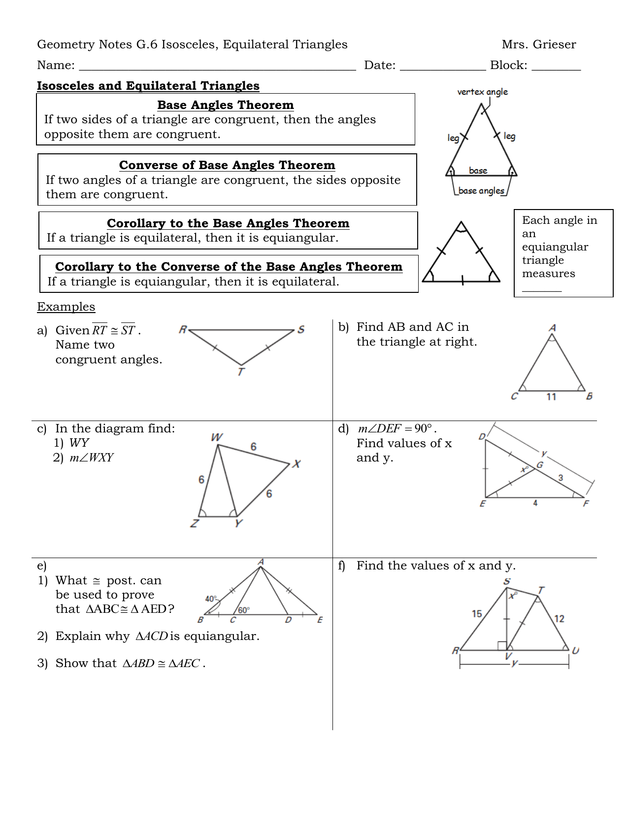 Geometry Notes G6 Isosceles Equilateral Triangles Mrs Grieser