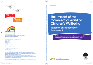 The Impact of the Commercial World on Children`s Wellbeing
