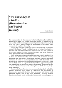 """Are you a boy or a girl?"" : (hetero)sexism and verbal hostility"
