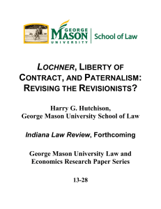 lochner, liberty of contract, and paternalism