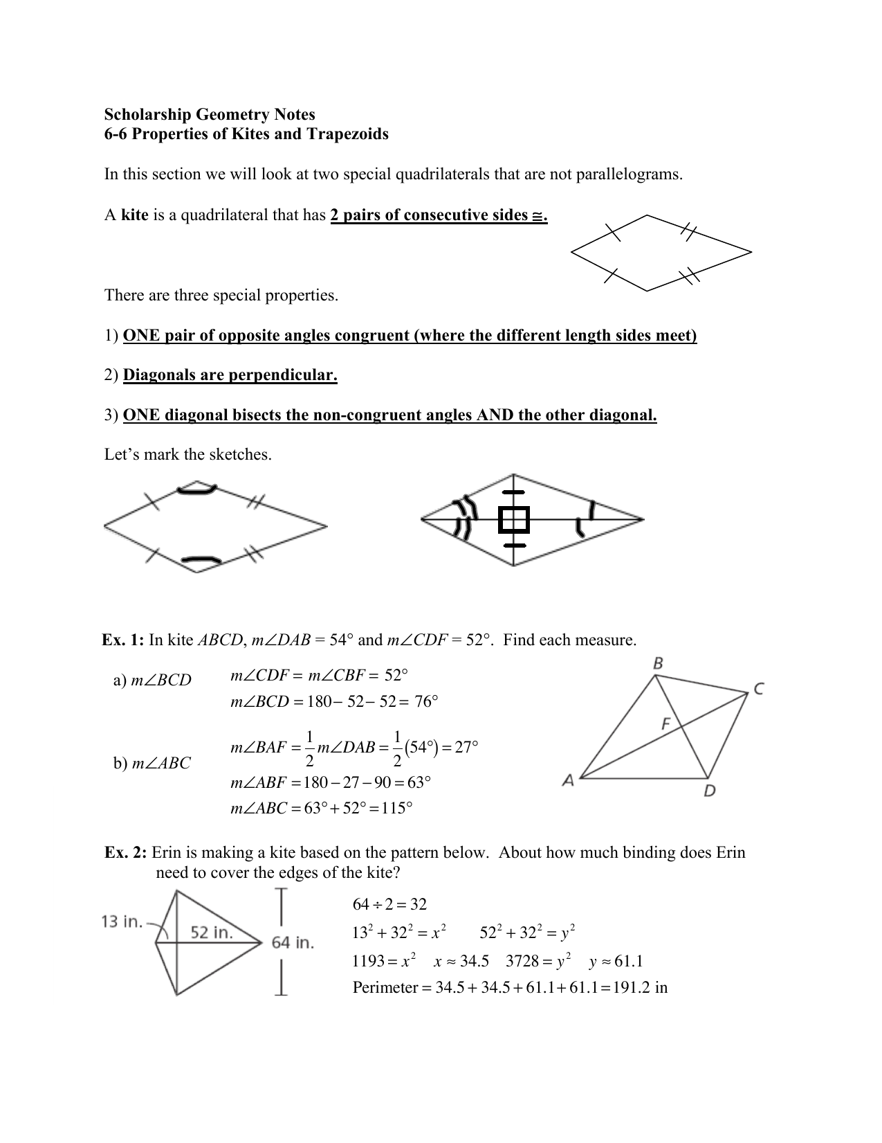 Scholarship Geometry Notes 6-6 Properties of Kites and Trapezoids