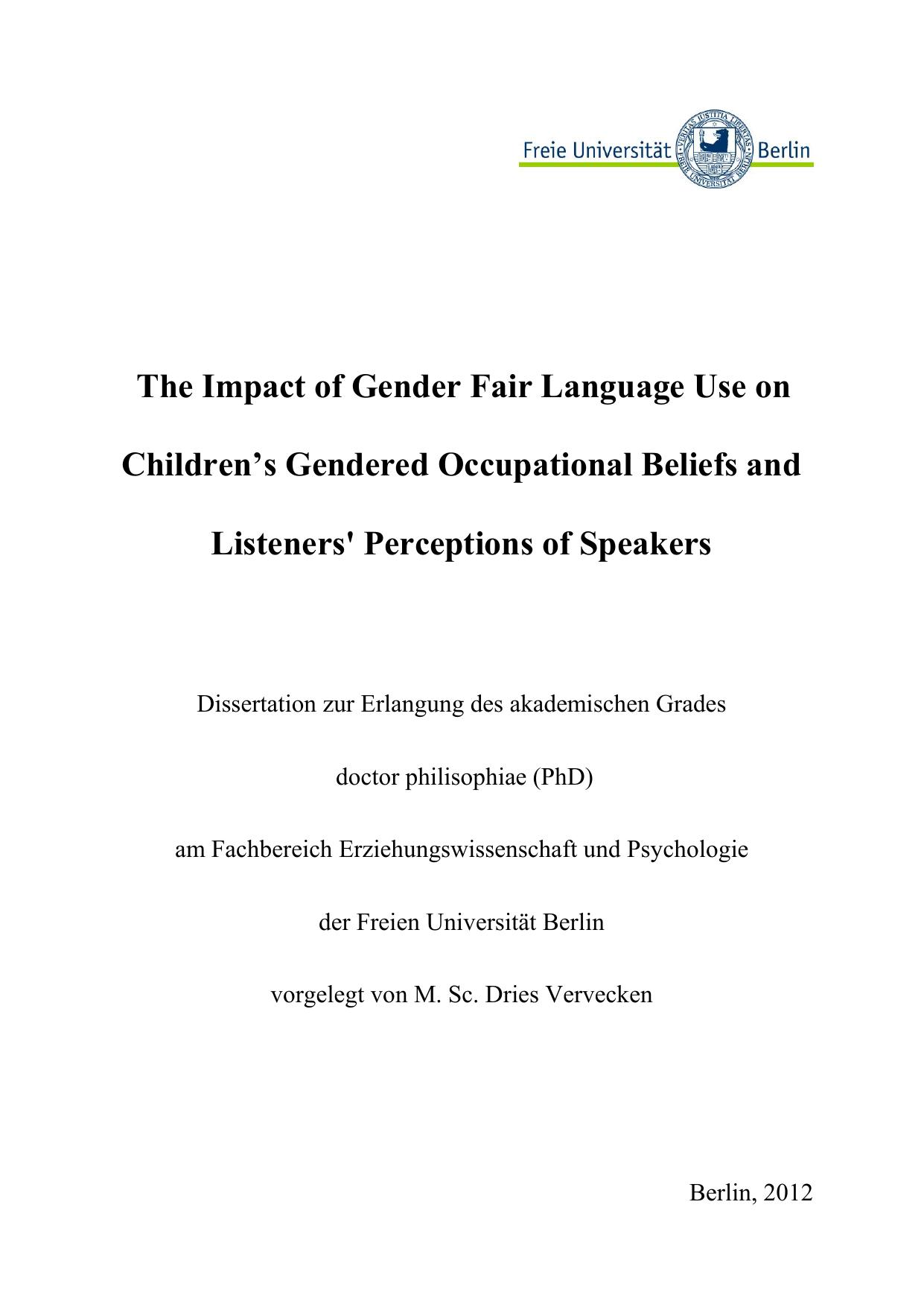 generisches maskulinum dissertation