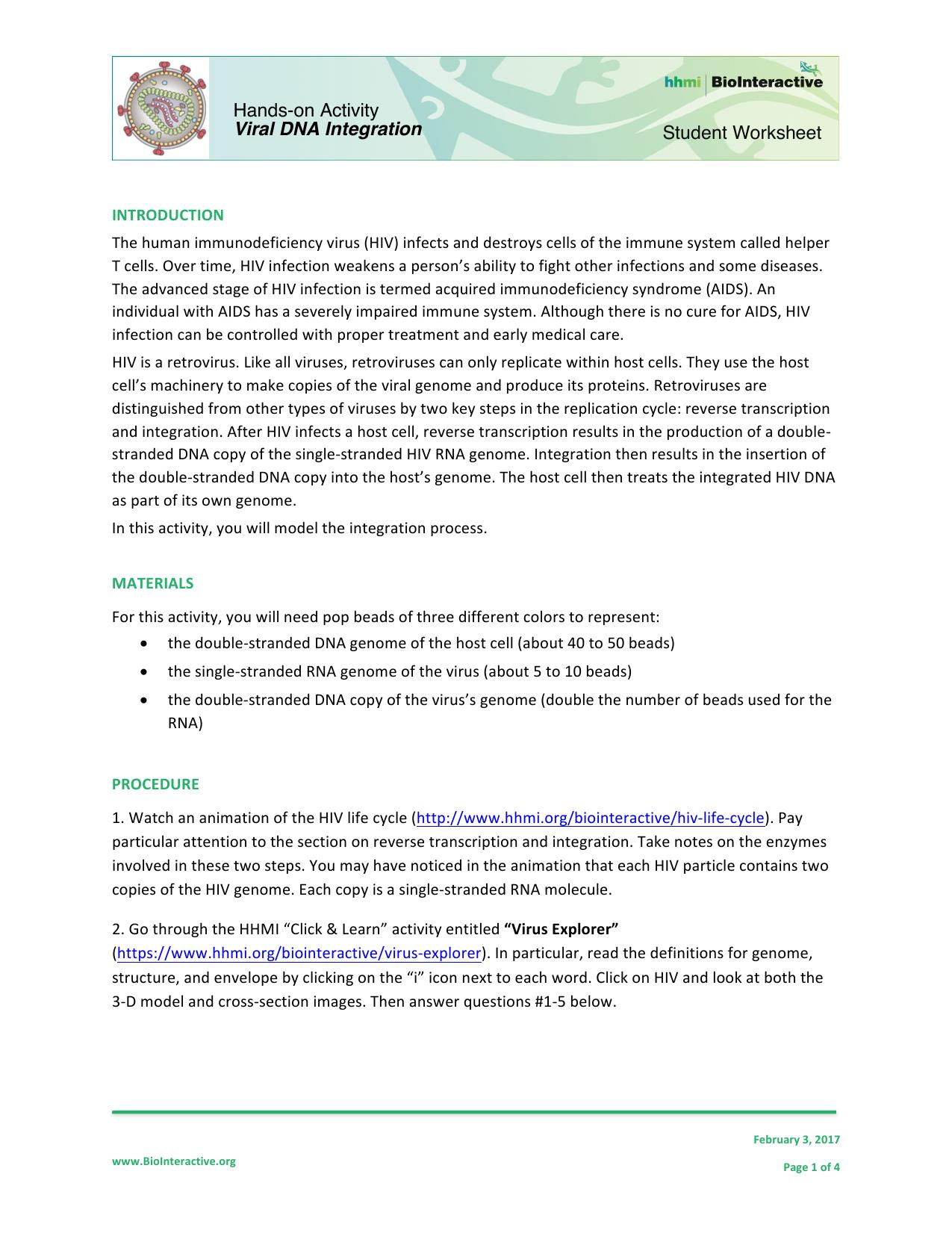 Student Worksheet Hands On Activity Viral Dna Integration