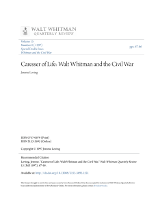 Caresser of Life: Walt Whitman and the Civil War