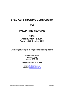 2010 Palliative medicine (amendments 2014)
