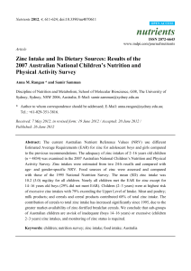 Zinc Intake and Its Dietary Sources: Results of the 2007 Australian