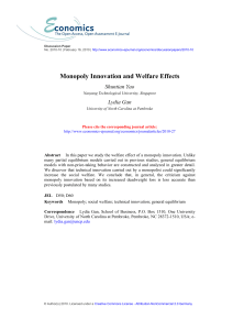 Welfare Effect of Monopoly Innovation - Economics E